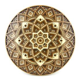 """Lotus Mandala"" - 3D Layered Wood Art - Version D"