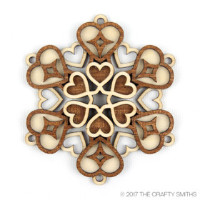 """Love"" - 3D Layered Wood Ornament - Version A"