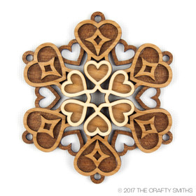 """Love"" - 3D Layered Wood Ornament - Version C"
