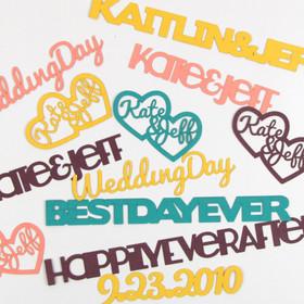 Personalized Paper Confetti Cutouts for Wedding Table