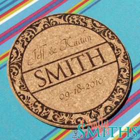 Personalized Damask Cork Trivet or Coasters