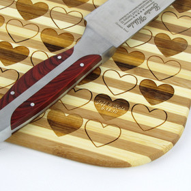 Pinstripe Bamboo Cutting Board with Hearts and Personalized Names and Date