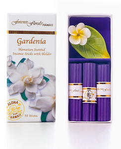 Forever Florals Hawaii Gardenia Incense Petite Gift Box Set (Small Incense Sticks with Ceramic Holder)