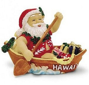 Hawaiian Hand-Painted Christmas Ornament - Canoeing Santa