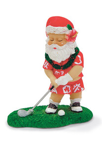 Hawaiian Hand-Painted Christmas Ornament - Golfing Santa