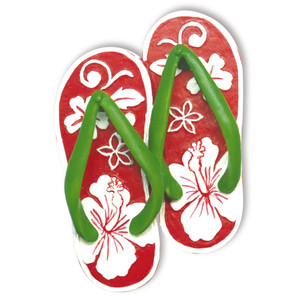 Hawaiian Hand-Painted Christmas Ornament - Hibiscus Slippers