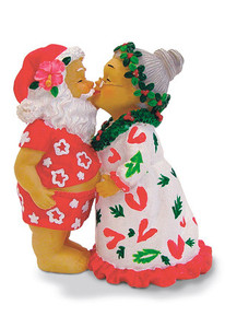 Hawaiian Hand-Painted Christmas Ornament - Kissing Santa & Mrs. Claus