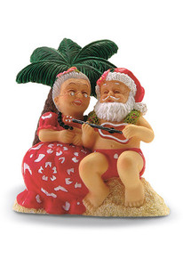 Hawaiian Hand-Painted Christmas Ornament - Serenading Santa
