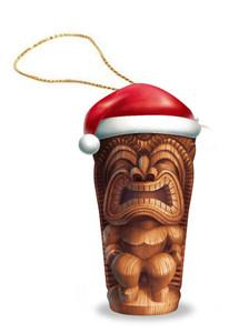 Hawaiian Hand-Painted Christmas Ornament - Holiday Tiki with Santa Hat