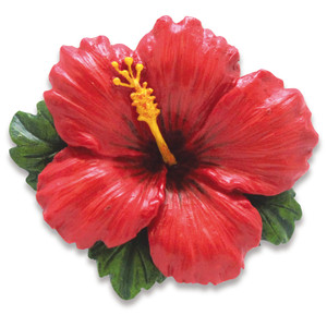 Hawaiian Hand-Painted Christmas Ornament - Red Hibiscus