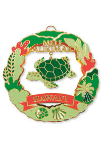 Hawaiian Hand-Painted Metal Die-Cut Christmas Ornament - Honu Turtle