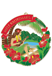 Hawaiian Hand-Painted Metal Die-Cut Christmas Ornament - Hula Girl with Ukulele