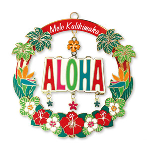 Hawaiian Hand-Painted Metal Die-Cut Christmas Ornament - Mele Aloha