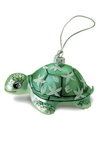 Hawaiian Handblown Hand-Painted Glass Christmas Ornament - Honu Turtle