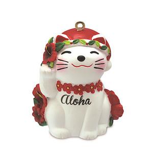 Hawaiian Hand-Painted Christmas Ornament - Holiday Lucky Cat