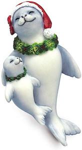 Hawaiian Hand-Painted Christmas Ornament - Hawaiian Monk Seals Holiday Ohana