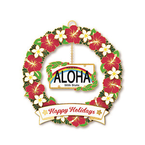 Hawaiian Hand-Painted Metal Die-Cut Christmas Ornament - Licence Plate: Aloha 50th State