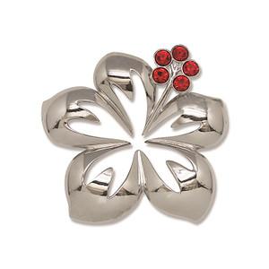 Hawaiian Rhinestone Jeweled Metal Christmas Ornament - Hibiscus