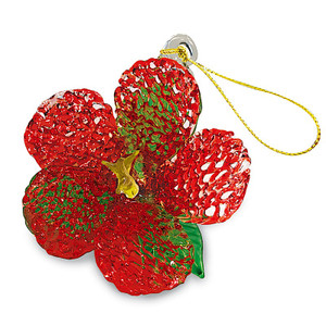 Hawaiian Elegant Glass Lace Christmas Ornament - Red Hibiscus