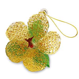 Hawaiian Elegant Glass Lace Christmas Ornament - Yellow Hibiscus