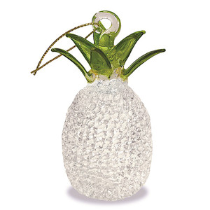 Hawaiian Elegant Glass Lace Christmas Ornament - Clear White Pineapple