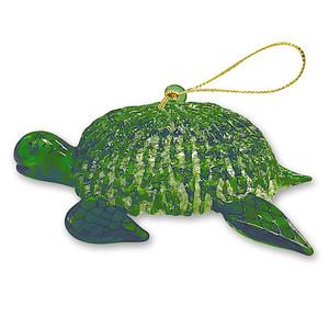 Hawaiian Elegant Glass Lace Christmas Ornament - Green Honu Turtle