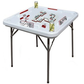 "Domino table with built-in cup holders and tile trays by Bene Casa. Measures 38"" x 38"". Mesa de domino plastica tamanyo profesional."