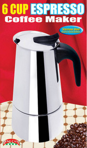 6 Cup Stainless Steel Espresso Maker w/ Black Handle