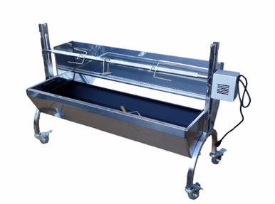 Stainless Steel Spit Rotisserie with backplate 80 lbs (Angle) - Latin Touch