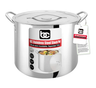 SS Stock Pot with Lid, 8QT  Regular Full Capacity, Reinforced Bottom)