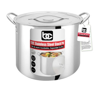 SS Stock Pot with Lid, Large (Full Capacity, Reinforced Bottom 12QT
