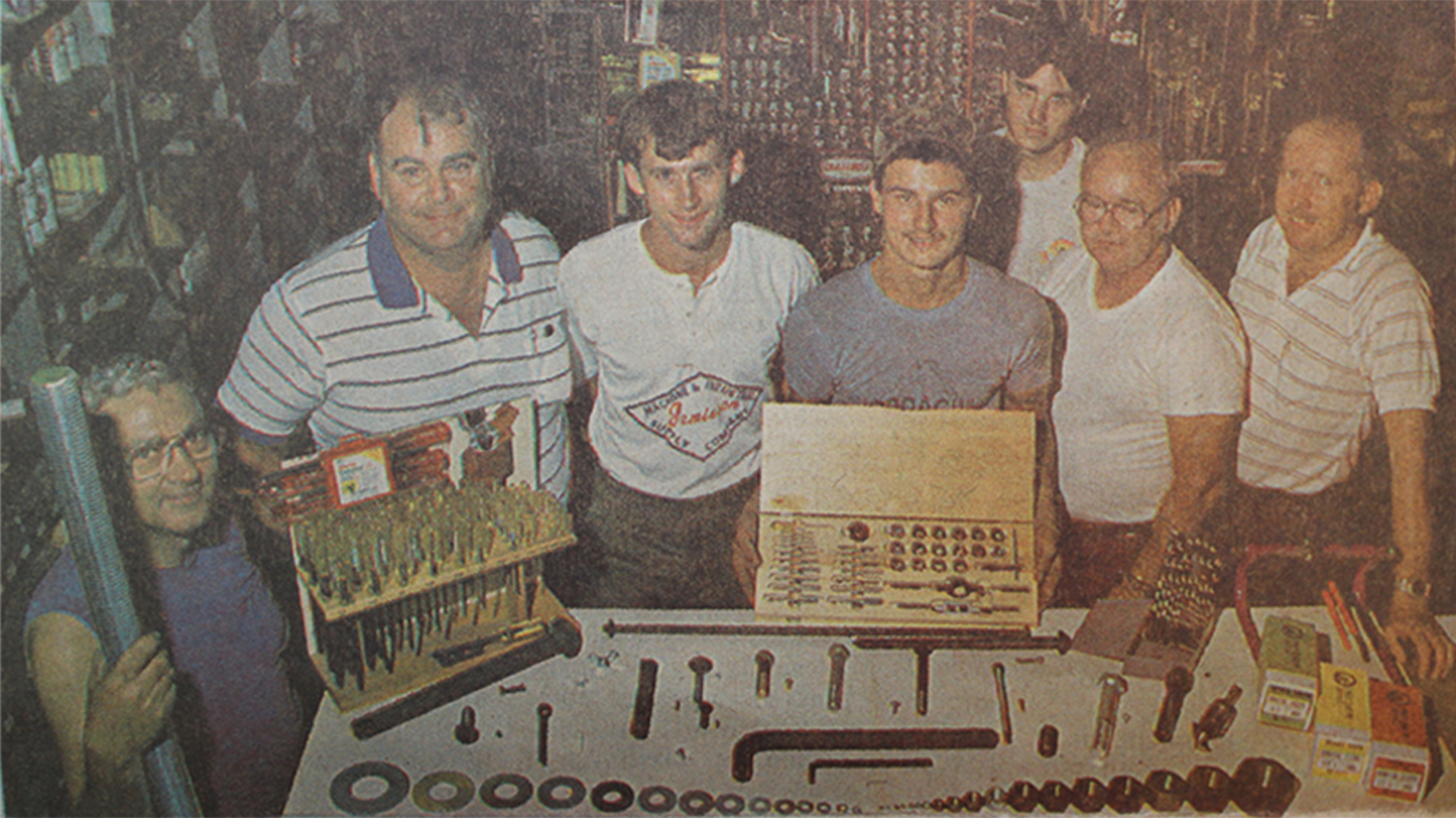 Gordon, 2nd from left, and his son Ed to his left. 1985