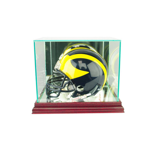This mini football helmet display case is the best way to display your prized football helmet!