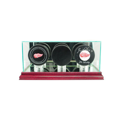 This three puck display case is the best way to hold your prized hockey pucks