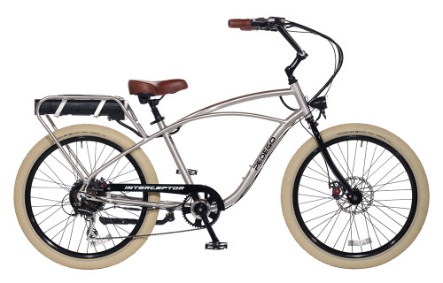 Pedego Classic Interceptor - Brushed Aluminum with Creme Balloon Package Wheels