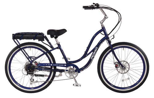 Pedego Step-Thru Comfort Cruiser - Midnight with Standard White Wall Tires