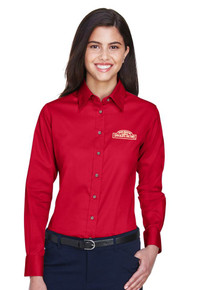 Ladies Oxford Harriton Easy Blend Long-Sleeve Twill Shirt with Stain-Release