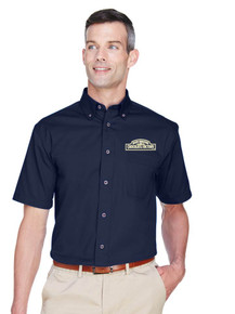 Men's Oxford Harriton Easy Blend Short-Sleeve Twill Shirt with Stain-Release