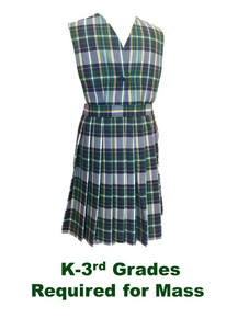 Girls Jumper - 1 Button Top Knife Pleat Plaid 1B