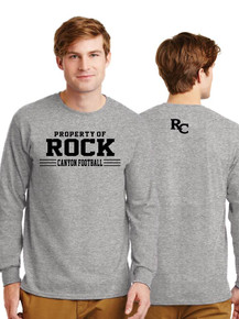 Camp Sport Gray Long Sleeve Cotton T-Shirt - Rock Canyon Football