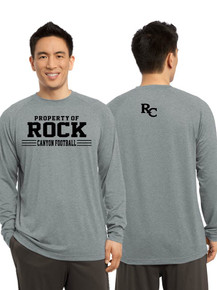 Camp Long Sleeve Gray Dri-Fit Cotton T-Shirt - Rock Canyon Football