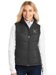 Ladies Black Port Authority Puffy Vest with RC Lacrosse Logo