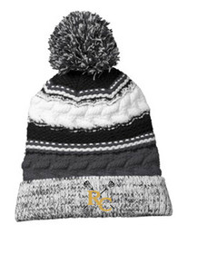 Beanie - Black & Grey Pom Pom  with embroidered RC