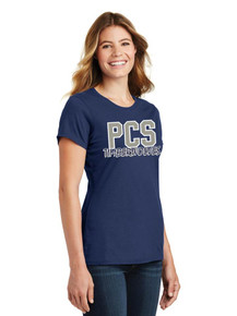 Ladies Navy Tee w/Heat Press Pinnacle Logo