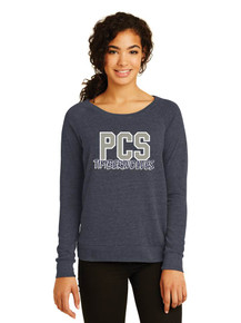 Ladies Navy Slouchy Pullover w/Heat Press Pinnacle Logo