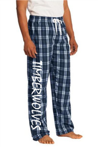 Navy Young Men's Flannel Plaid Pants w/Timberwolves Heat Press