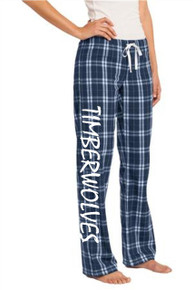 Navy Juniors Flannel Pants w/Timberwolves Heat Press