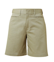 Girls Shorts - Mid Rise Plain Flat Front - Khaki or Navy