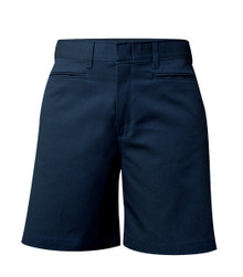 Girls Shorts - Mid Rise Plain Flat Front - Navy