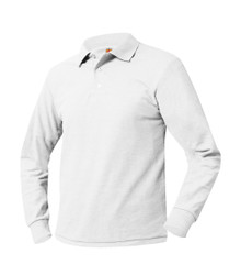Pique Knit Long Sleeve Polo Shirt - White